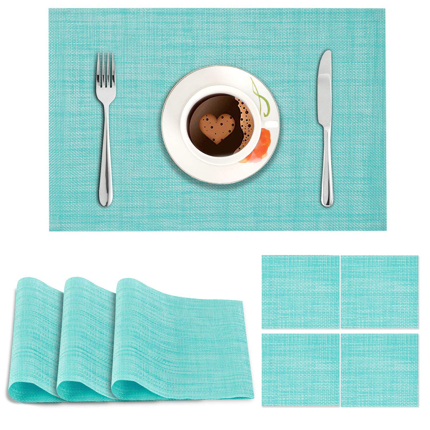 Solid Blue. AND009111. Size- 45x30 cm. Coaster Size- 10 cm