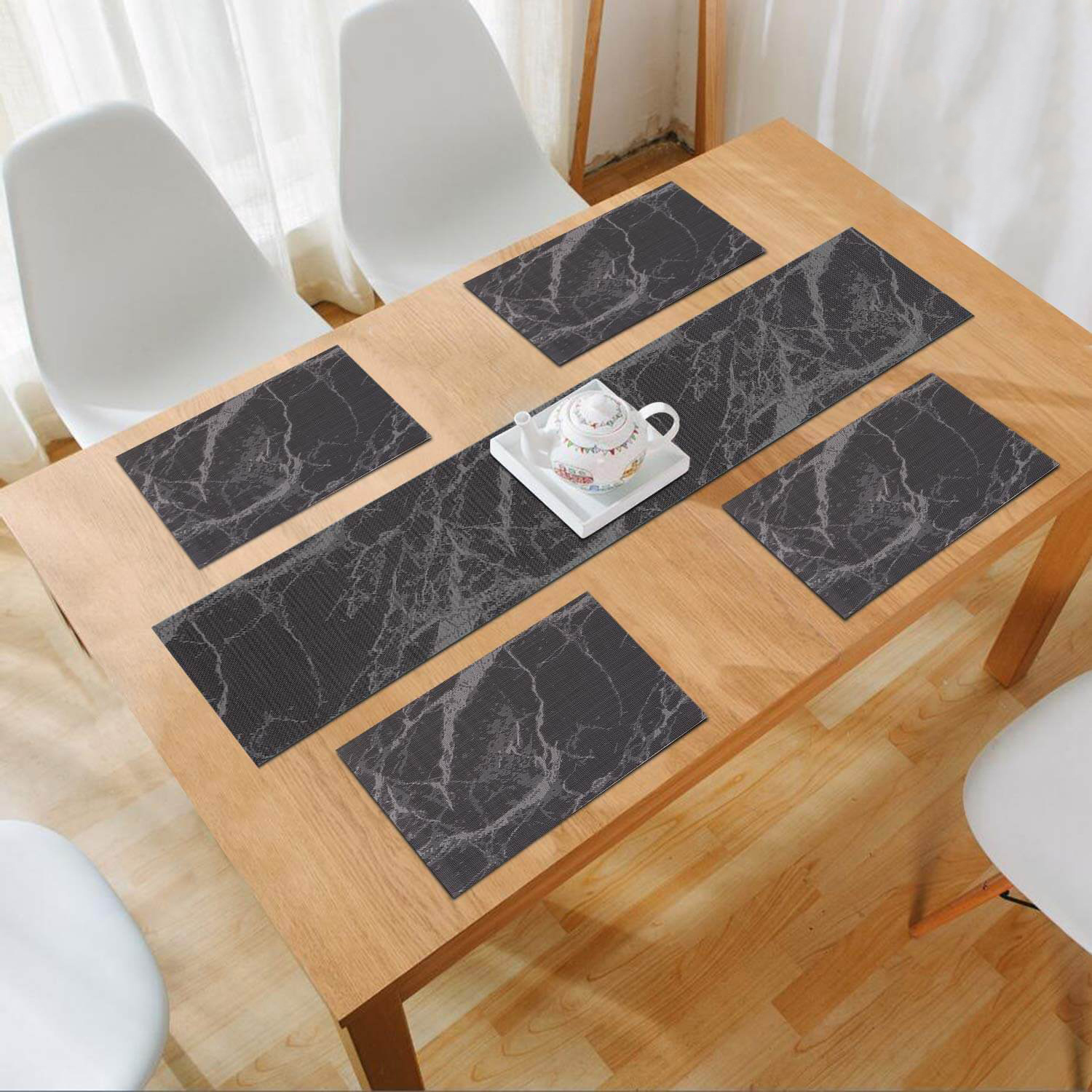 Black Abstract. AND009122. Size- 45x30 cm. Runner Size- 135x30 cm